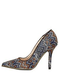 Qupid Tribal-Woven Pointed Toe Pumps
