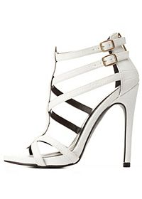 Strappy Asymmetrical Caged Heels