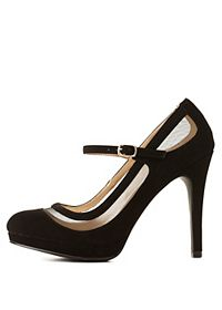 Qupid Mesh Cut-Out Mary Jane Pumps