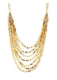 Layered Metallic Beaded Necklace