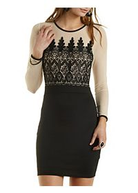 Embroidered Long Sleeve Bodycon Dress