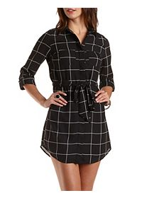 Windowpane-Checked Chiffon Shirt Dress