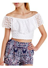 Cropped Crochet Flutter Top