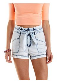 Acid Wash Chambray High-Waisted Shorts