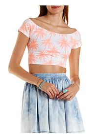 Tropical Print Off-The-Shoulder Crop Top