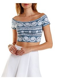Boho Print Off-The-Shoulder Crop Top