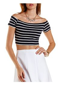 Striped Off-The Shoulder Crop Top