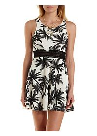 Tropical Print Lace Skater Dress