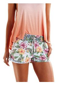Tropical Print Acid Wash Chambray Shorts