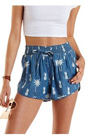 Tropical Print Denim Dolphin Shorts