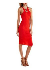 Racer Front Ruched Bodycon Dress