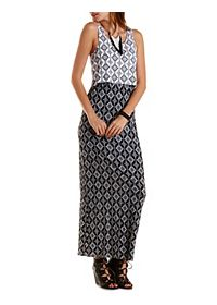 Printed Color Block Maxi Dress