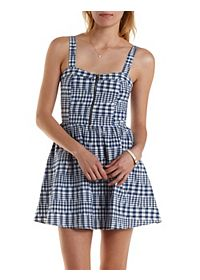 Abstract Plaid Zip-Up Skater Dress
