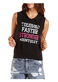 Don't Quit Graphic Sleeveless Hoodie