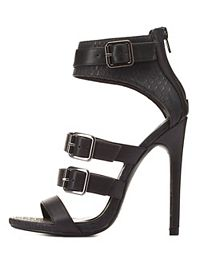 Strappy Belted Ankle Cuff Heels