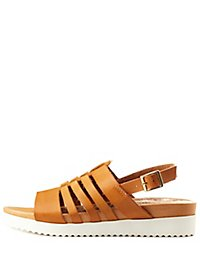 Qupid Strappy Slingback Flatform Sandals