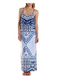 Strappy Mixed Print Flounce Maxi Dress