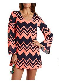 Bell Sleeve Chevron Shift Dress
