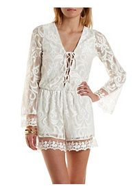 Lace-Up Mixed Lace Romper