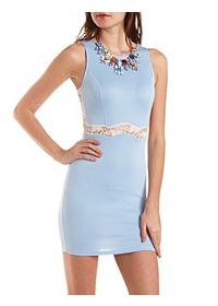 Scalloped Lace Cut-Out Bodycon Dress