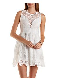 Plunging Crocheted Mesh Skater Dress