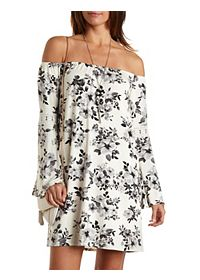 Bell Sleeve Floral Print Shift Dress