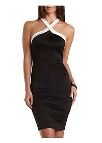 Pleated Color Block Crossover Halter Dress