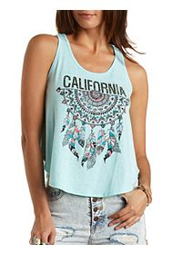 California Dreamcatcher Graphic Muscle Tank Top