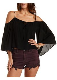Tie-Neck Cold Shoulder Top