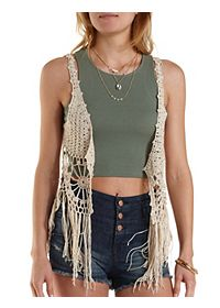 Fringe-Trim Open Knit Vest