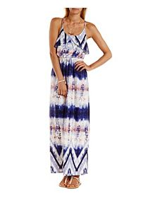 Tie-Dye Tulip Flounce Maxi Dress