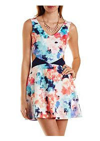 Floral Print Cut-Out Skater Dress