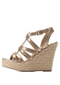Caged T-Strap Espadrille Wedge Sandals