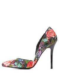 Floral Print Pointed Toe D'Orsay Pumps
