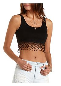 Crocheted Fringe Crop Top