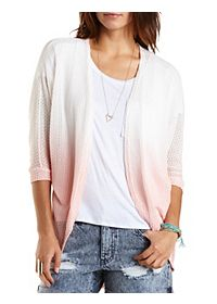 Ombre Open Weave Poncho Cardigan
