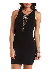 Embellished Deep V Bodycon Dress