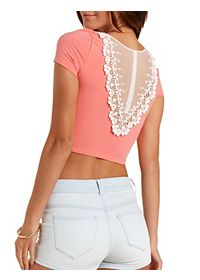 Lace-Back Cotton Crop Top