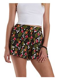 Tropical Print High-Waisted Shorts
