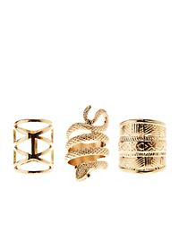 Coiled Snake & Aztec Rings - 3 Pack