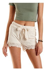 Sash-Belted Scalloped Lace Shorts