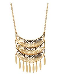 Cut-Out Crescent Fringe Necklace