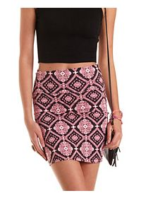 Baroque Print Bodycon Mini Skirt