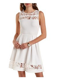 Textured Lace Cut-Out Skater Dress