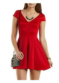 Cap Sleeve Deep V Skater Dress