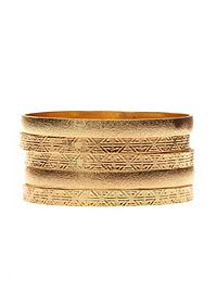 Brushed & Aztec-Embossed Bangles - 5 Pack