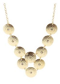 Hammered Rhinestone Disk Necklace