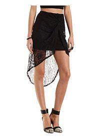 Twisted High-Low Lace Tulip Skirt
