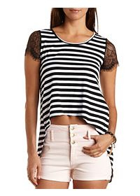 Striped High-Low Swing Tee