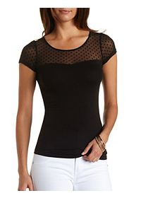Dotted Mesh Tee with Sweetheart Illusion Neckline